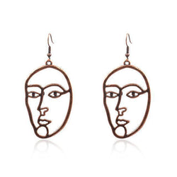 Womens Abstract Face Alloy Earrings
