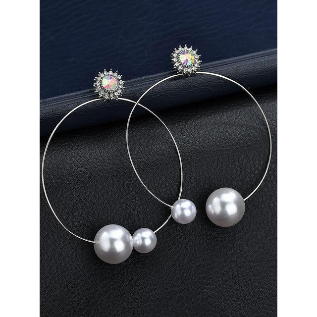 Metal Circle Pearl Inlaid Diamonds Punk Earrings