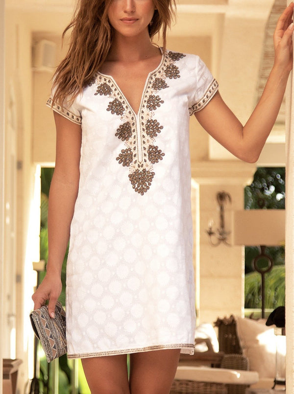 Stella Embroidered Dress | White