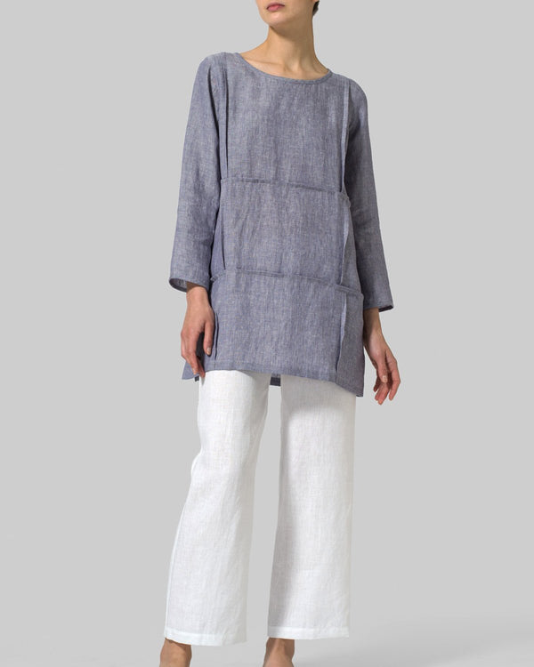 Casual Crew Neck Linen Woman Tops