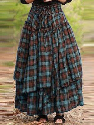 Cotton Vintage Plaid Loose Skirt