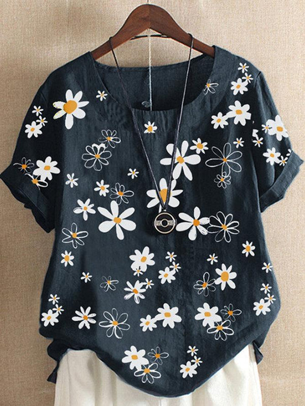 Floral Short Sleeve Shift Printed Shirts & Tops