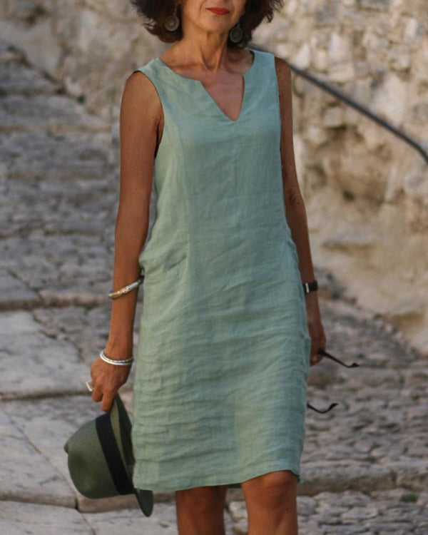 Casual Sleeveless V-neck Dress