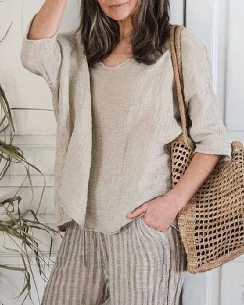 Casual Vintage Solid Linen Tops