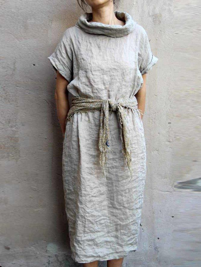 Gray Cowl Neck Solid Short Sleeve Ruched Vintage Dresses