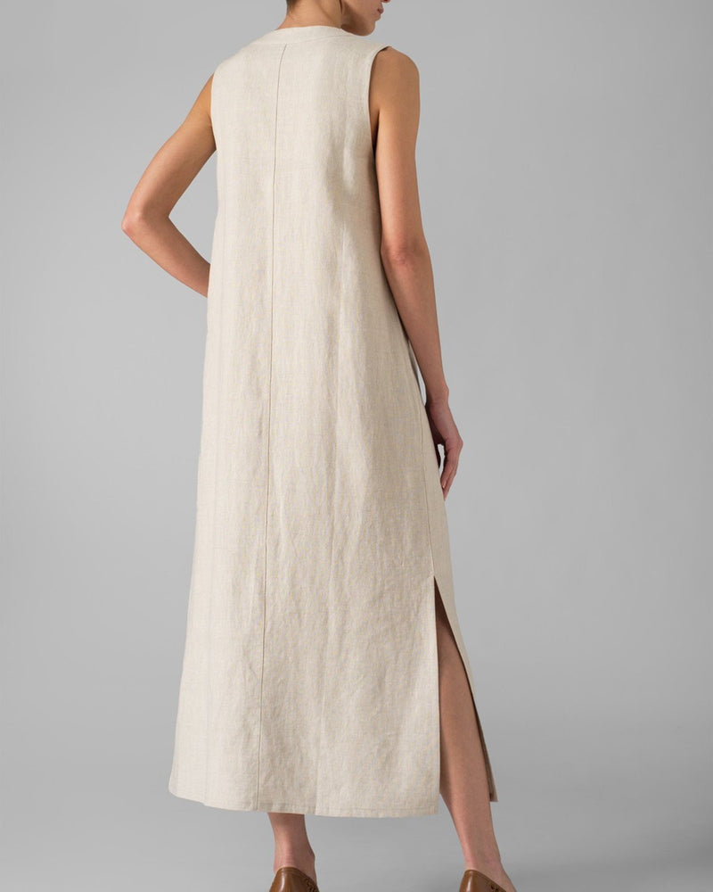 Casual Buttoned Linen Maxi Dress