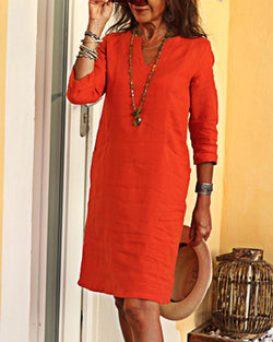 Vintage Casual Solid Woman Linen Dresses