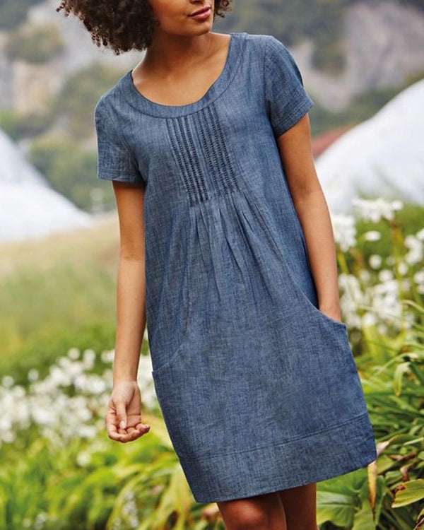 Casual Short Sleeve Round Neck Dress