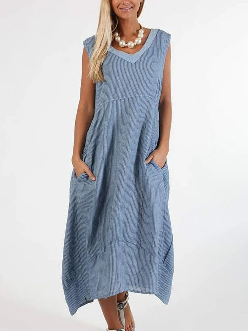 Cotton and Linen Casual Short Sleeve Dress