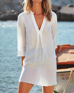 Vintage Casual V Neck Solid Dresses