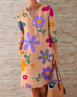 Casual Printed Floral V-neck Midi Dress