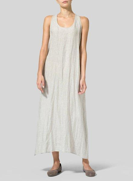 Solid Basic Linen/Cotton A-Line Sleeveless Maxi Dress