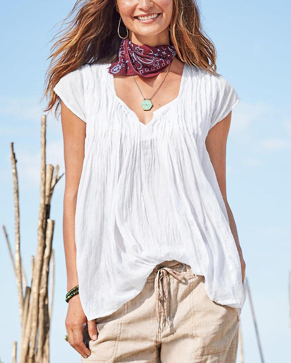 Solid Short Sleeve V Neck Tunic