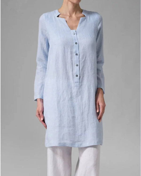 Casual Long Sleeve Linen Buttoned Long Top