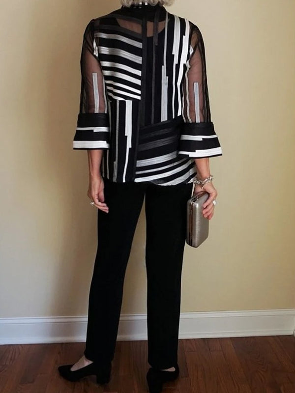 Women's Elegant Mixed Striped Shirt And Pants Suit
