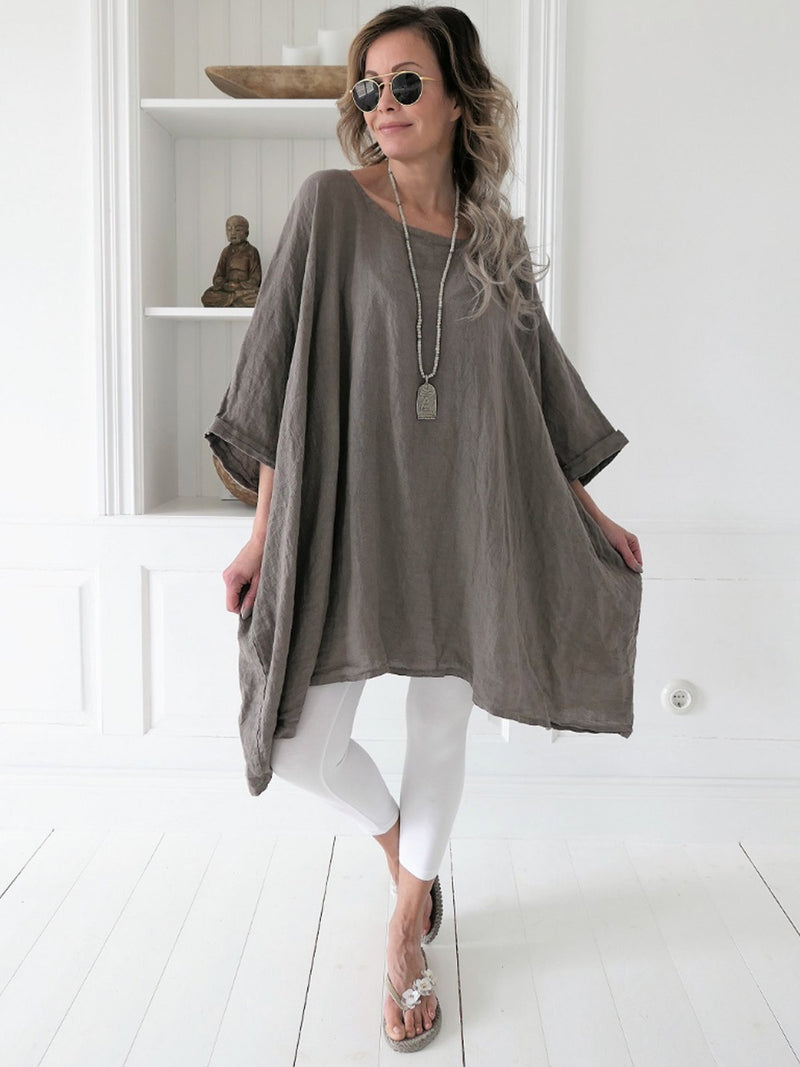 Women 3/4 Sleeve Cotton Plus Plain Boho Blouse Crew Neck Tops