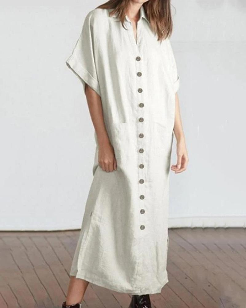 Casual Shawl Collar Buttoned Linen Maxi Dress