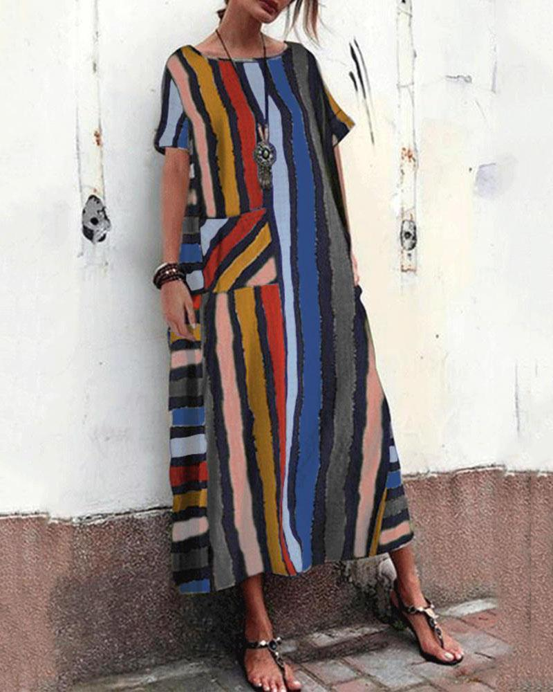 Women Short Sleeve Striped Loose Casual Long Maxi Dresses