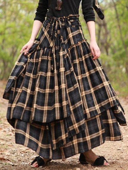Cotton Vintage Casual Checkered  Skirt
