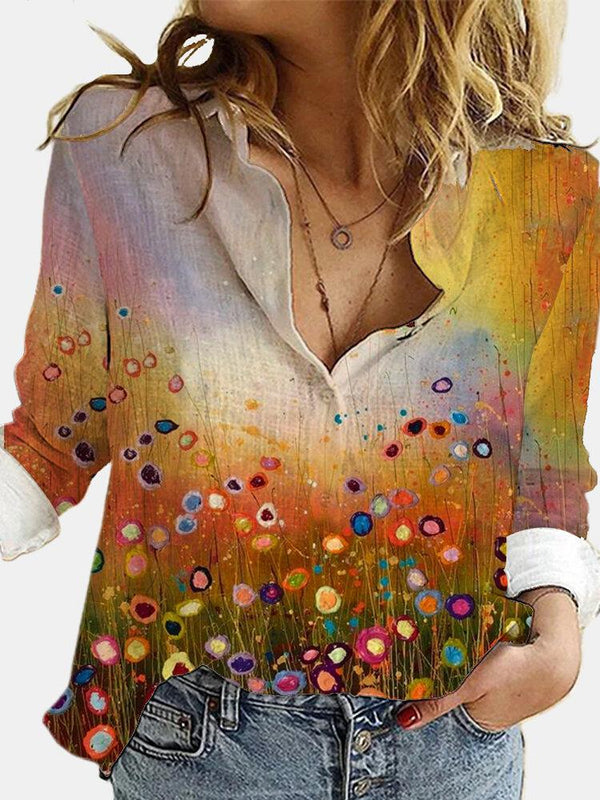 Landscape Printed Long Sleeve Turn-down Collar Blouse For Women