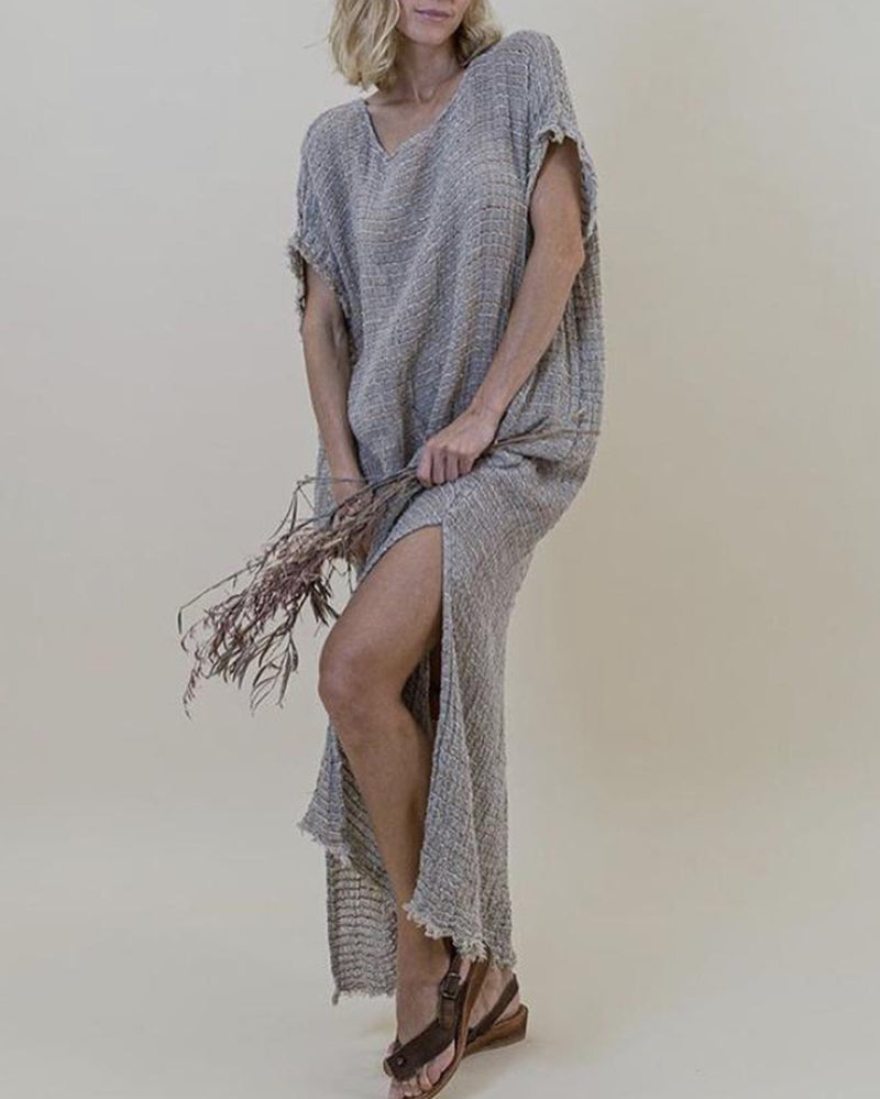 Vintage Linen Solid Casual Woman Maxi Dress