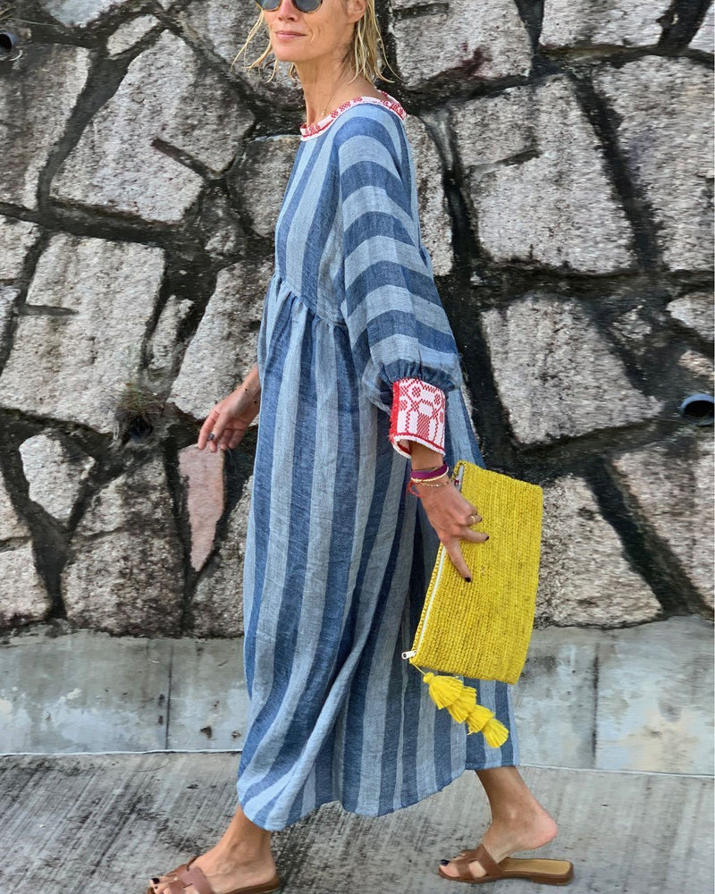 Striped round neck cotton and linen dress