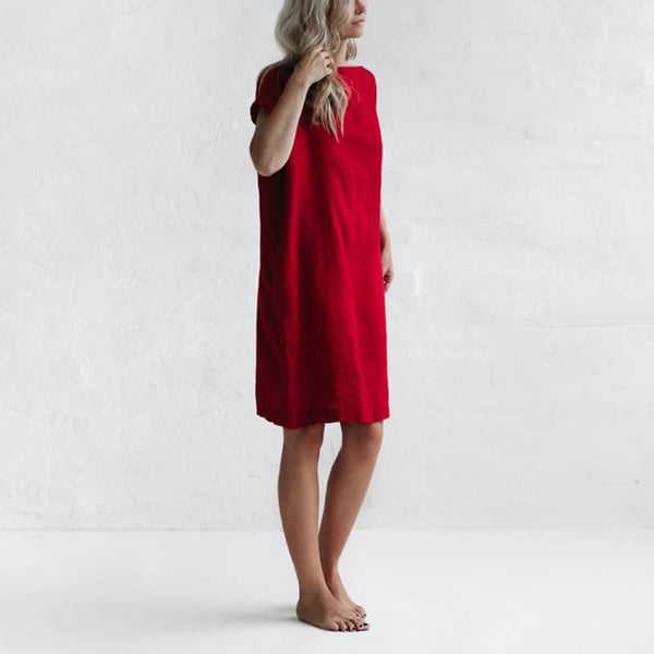 Casual One-Neck Short-Sleeved Solid Color Cotton And Linen Dress