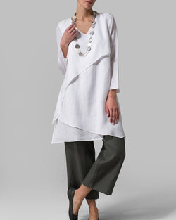 Casual Crew Neck Solid Linen Irregular Tops