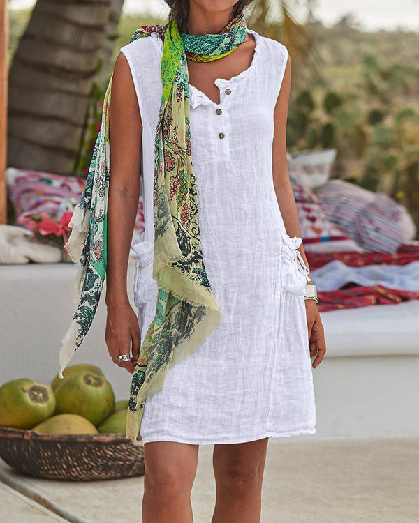 Casual Buttoned Sleevless Linen Woman Dresses