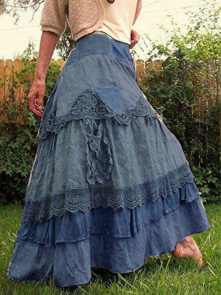 Vintage Folds Cotton Casual Skirt
