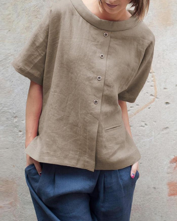 Casual Buttoned Pockets Linen Woman Tops