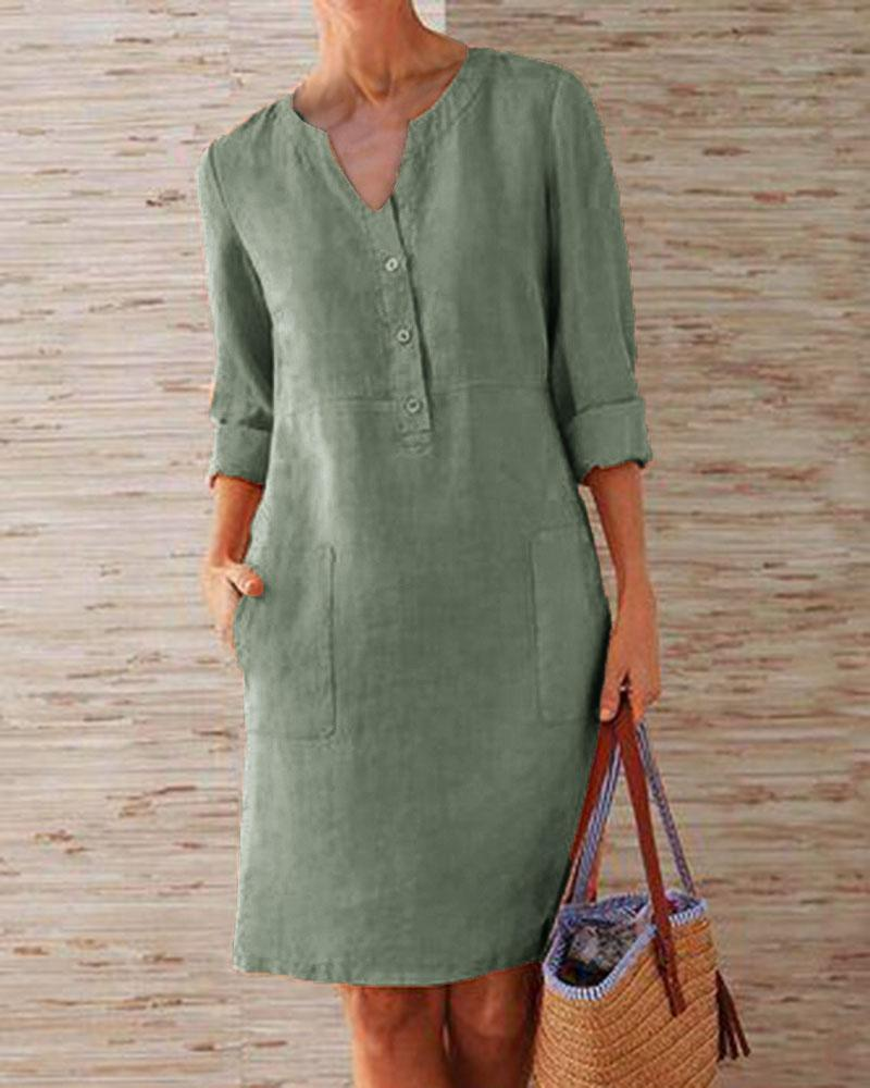 Casual Linen Solid Button V-neck Dress