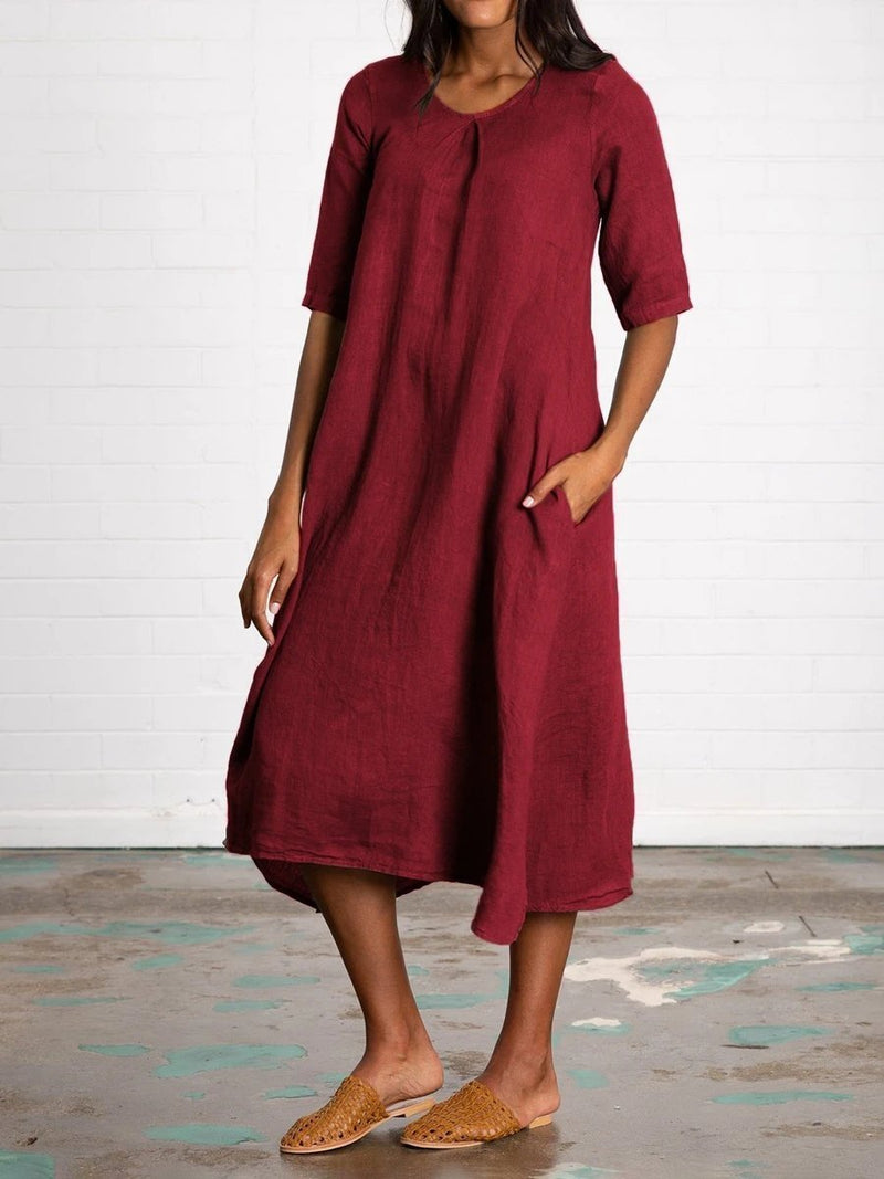 Cotton and Linen Casual Long Dress