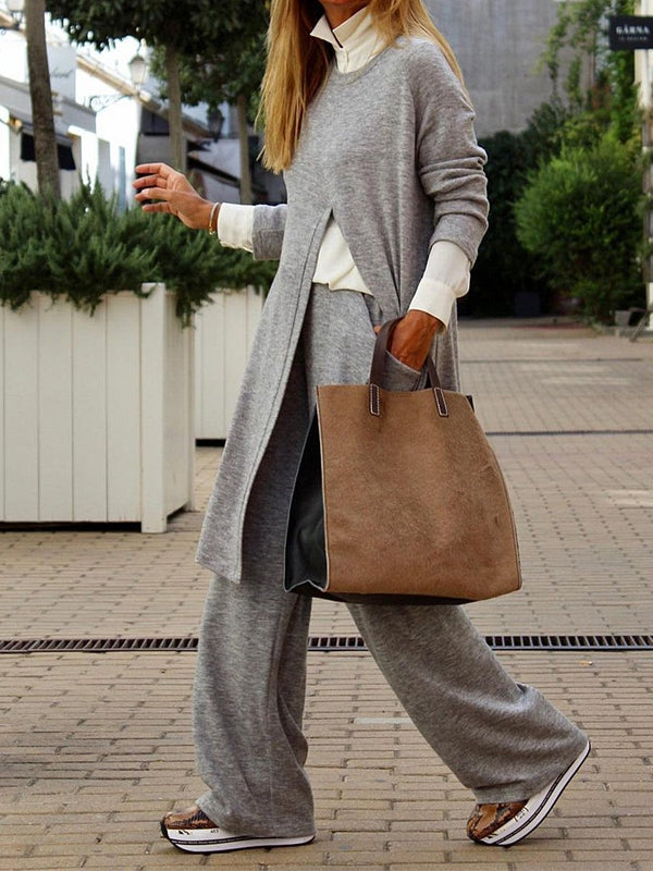 Fashion Split Top and Wide Leg Pants Suit