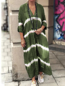 3/4 Sleeve Stripes Printed Casual Maxi Dresses