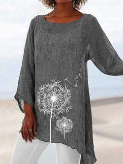 Long Sleeve Round Neck Floral Shift Shirts & Tops