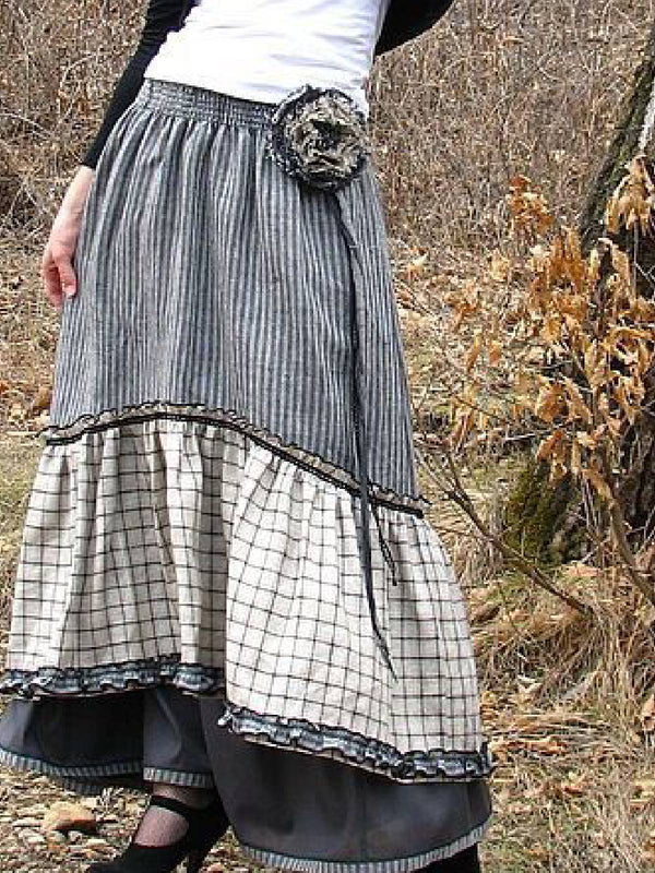A-Line Cotton-Blend Vintage Skirt