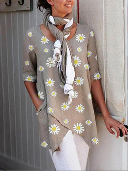 Casual vintage round neck irregular floral top