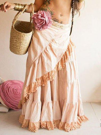 Asymmetric Cotton Vintage Loose Skirt