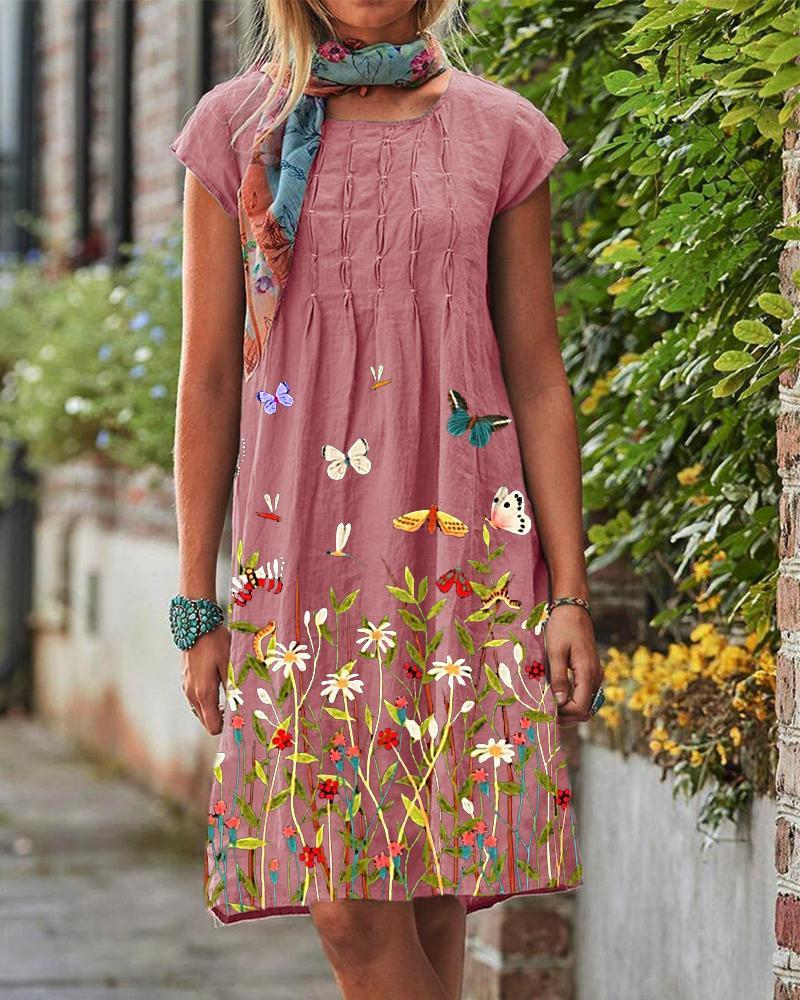 Butterfly Floral Casual Dress