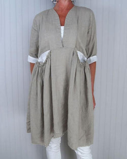 Casual Women Linen Pocket Tunic