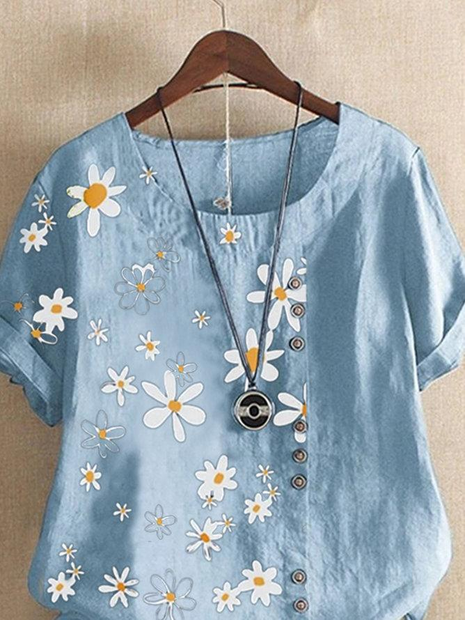 Blue Floral Short Sleeve Shirts & Tops