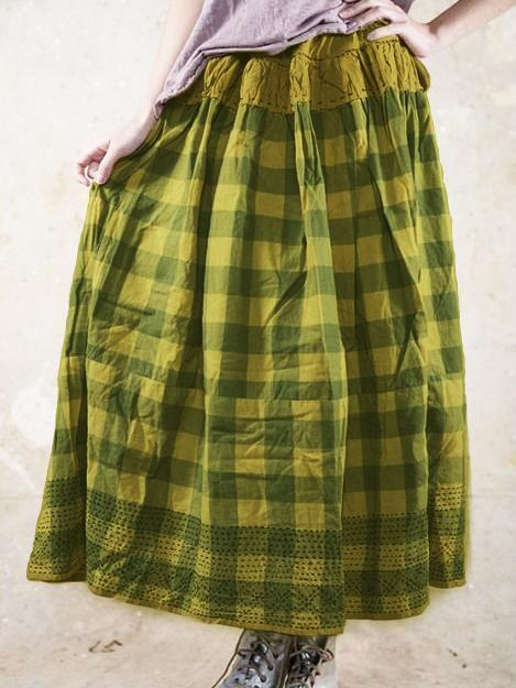 Plaid Casual Cotton Loose Vintage Skirt