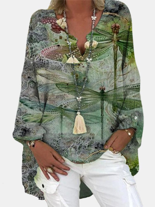 Dragonfly Printed Long Sleeve V-neck Blouse For Women
