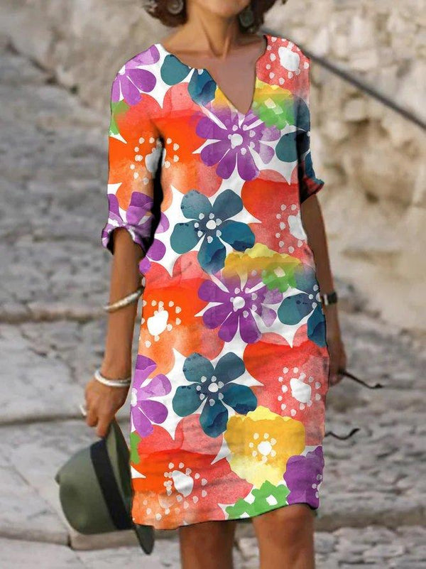 Casual Print Color Block Dress