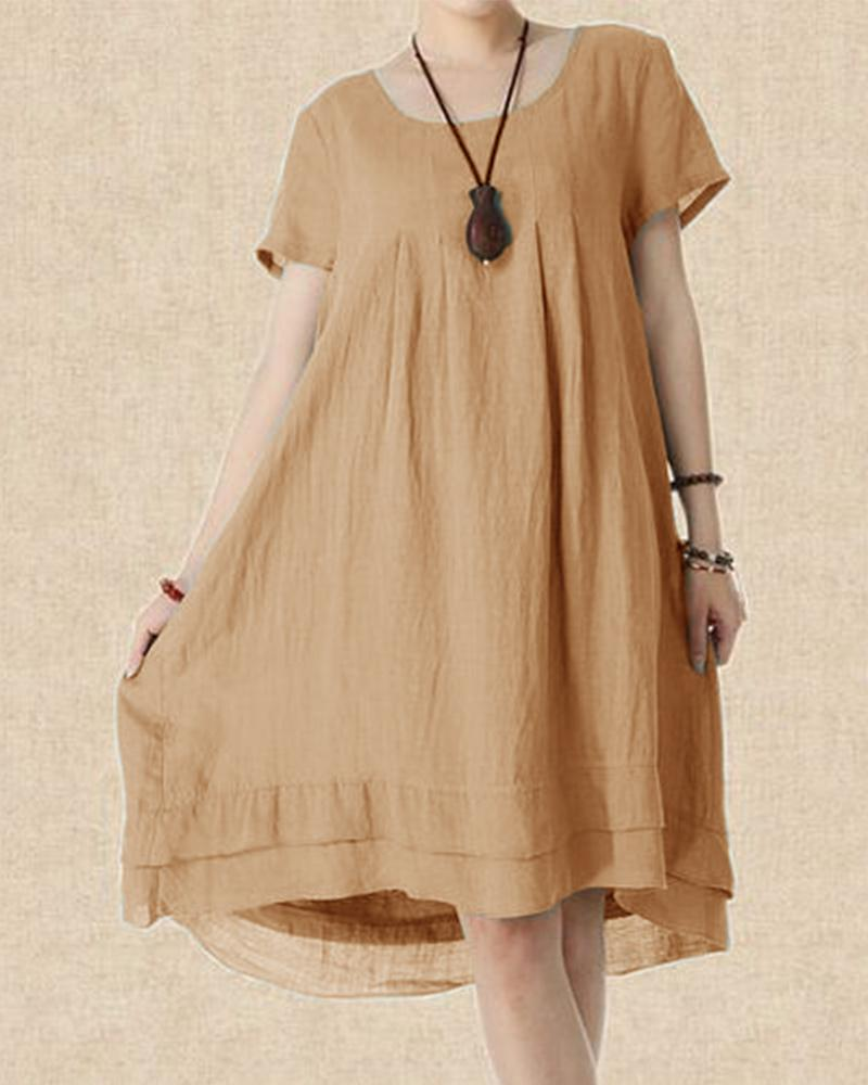Cotton Double Gauze Short Sleeve Dress