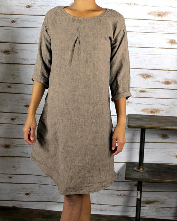 Round Neck Solid Color Long Sleeves Dress