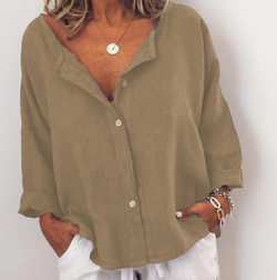 V-Neck Long Sleeve Casual Solid Buttoned Tops