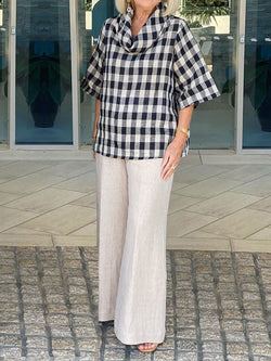 Plaid Short-sleeved Top Solid Color Trousers Women's Suit
