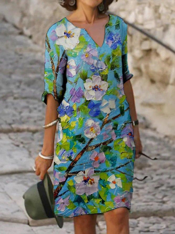Blue Casual Floral Half Sleeve V Neck Dress